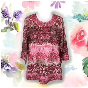 Style & Co Pink Floral Cotton Tunic